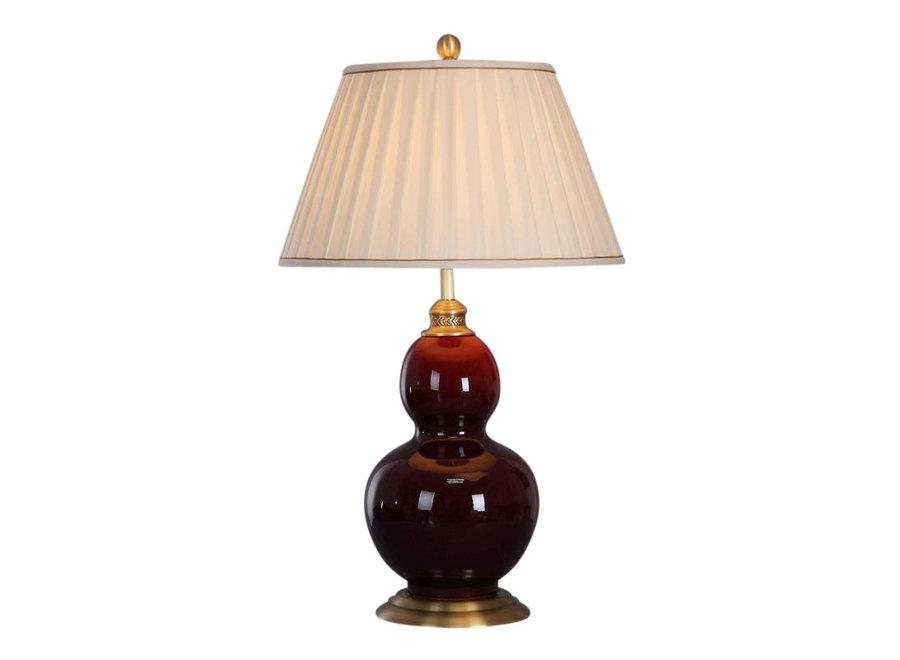 Chinesische Tischlampe Porzellan mit Schirm Burgunderrot