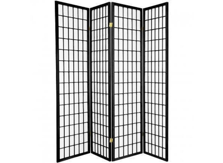 Japanese Room Divider 4 Panels W180xH180cm Privacy Screen Shoji Rice-paper Black - Tana