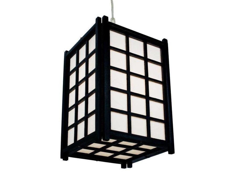 Fine Asianliving Japanische Pendelleuchte Holz und Reispapier Schwarz - Dofu B20.5xT20.5xH31cm