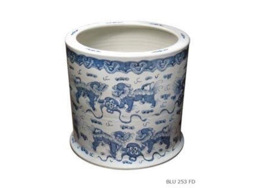 Fine Asianliving Porzellan Blumentopf Handbemalte Wächterlöwe Blau und Weiß