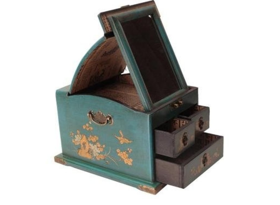 Tibetan Mirror Jewelry box Blue