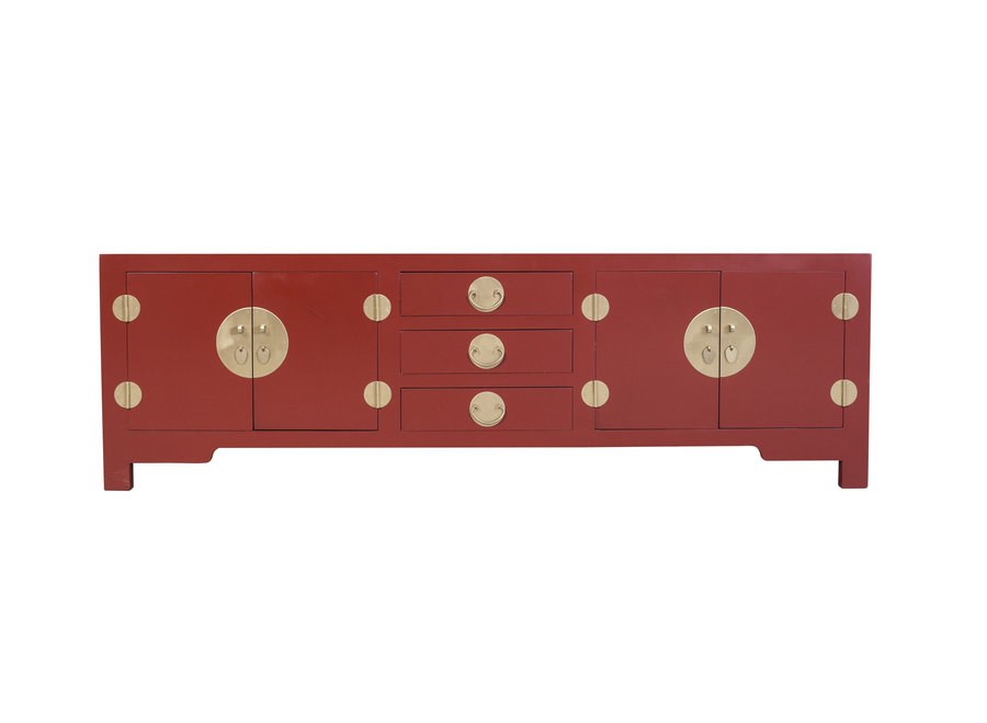 Fine Asianliving Chinesisches TV Lowboard Schrank Rubinrot - Orientique Sammlung B175xT47xH54cm
