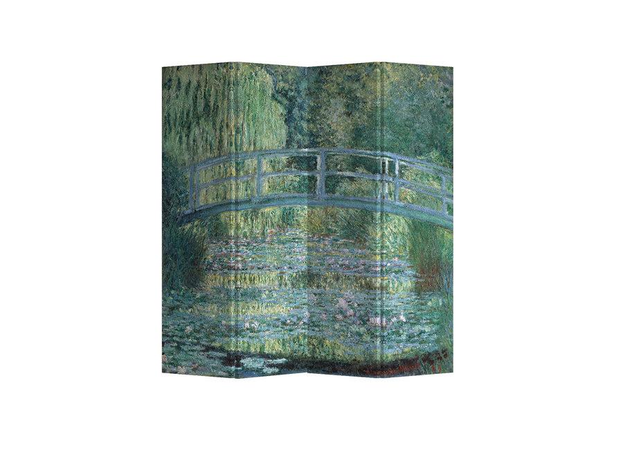 Fine Asianliving Raumteiler Paravent Sichtschutz Trennwand Bridgeover aPondofWater Lilies Claude Monet L160xH180cm