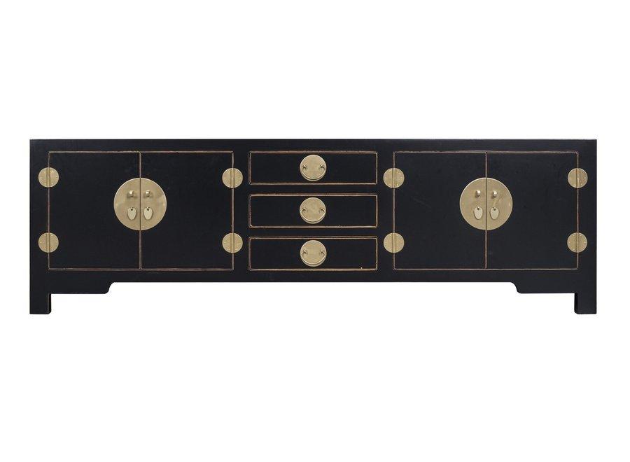 Chinesisches TV Lowboard Schrank Onyz Schwarz - Orientique Sammlung B175xT47xH54cm