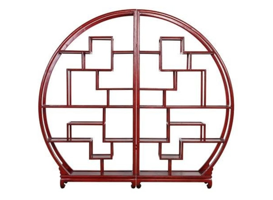 Chinese Bookcase Round Open Display Cabinet Red B176xH192cm