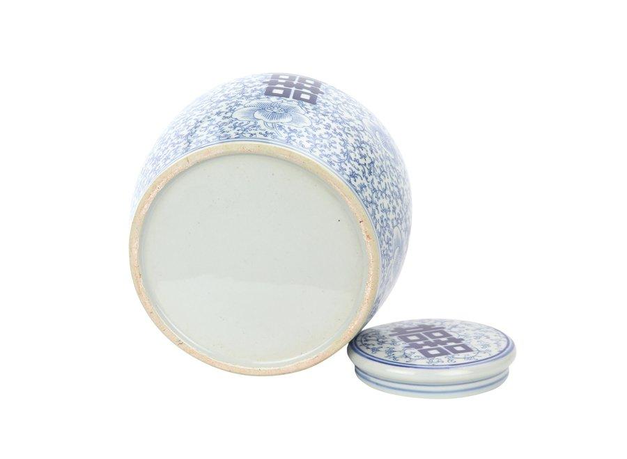Chinesische Deckelvase Blau Weiß Porzellan Handbemalt Doppeltes Glück D22xH22cm