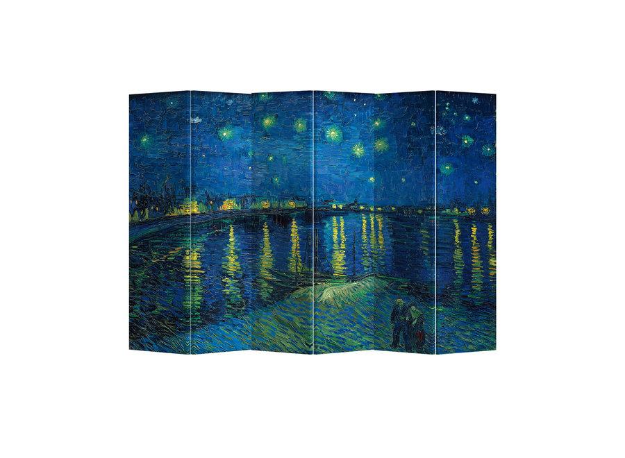 Raumteiler Paravent Sichtschutz Trennwand Starry Night Above Rhone van Gogh L240xH180cm