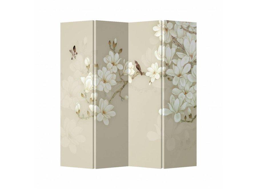 Raumteiler Trennwand B160xH180cm 4-teilig Blüten Beige