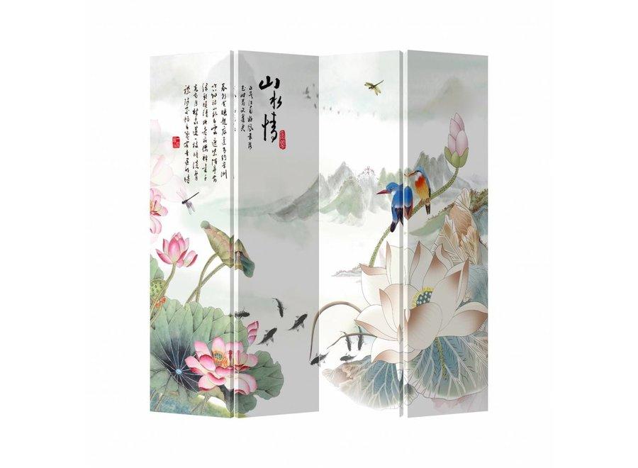 Chinesischer Raumteiler Trennwand B160xH180cm 4-teilig Natur