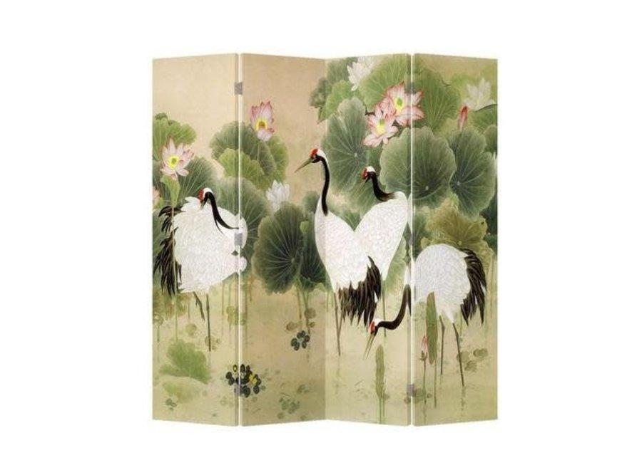 Chinesischer Raumteiler Trennwand B160xH180cm 4-teilig Kraniche im Lotusgarten