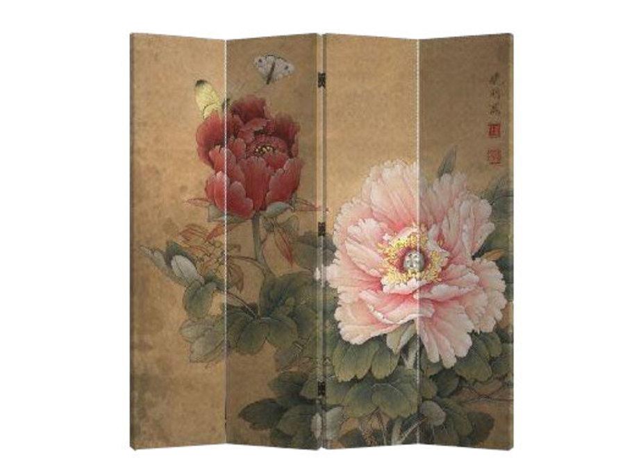 Chinesischer Raumteiler Trennwand B160xH180cm 4-teilig Pfingstrosen und Schmetterlinge Vintage