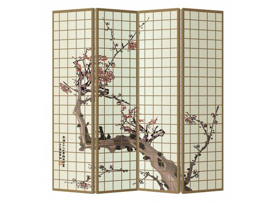 Raumteiler Trennwand B160xH180cm 4-teilig Japanische Kirschblüten