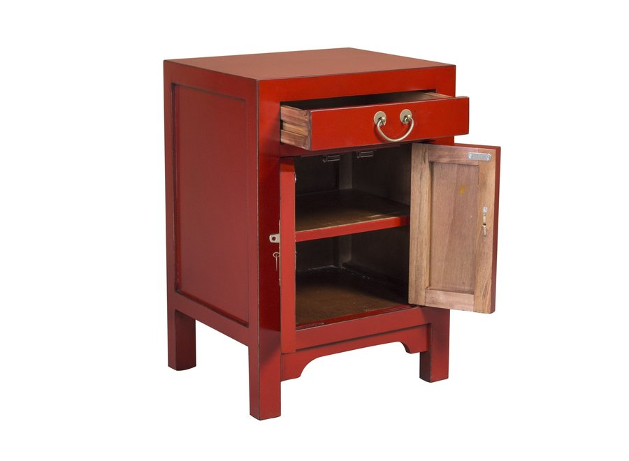 Chinese Bedside Table Red - Lucky Red W42xD35xH60CM