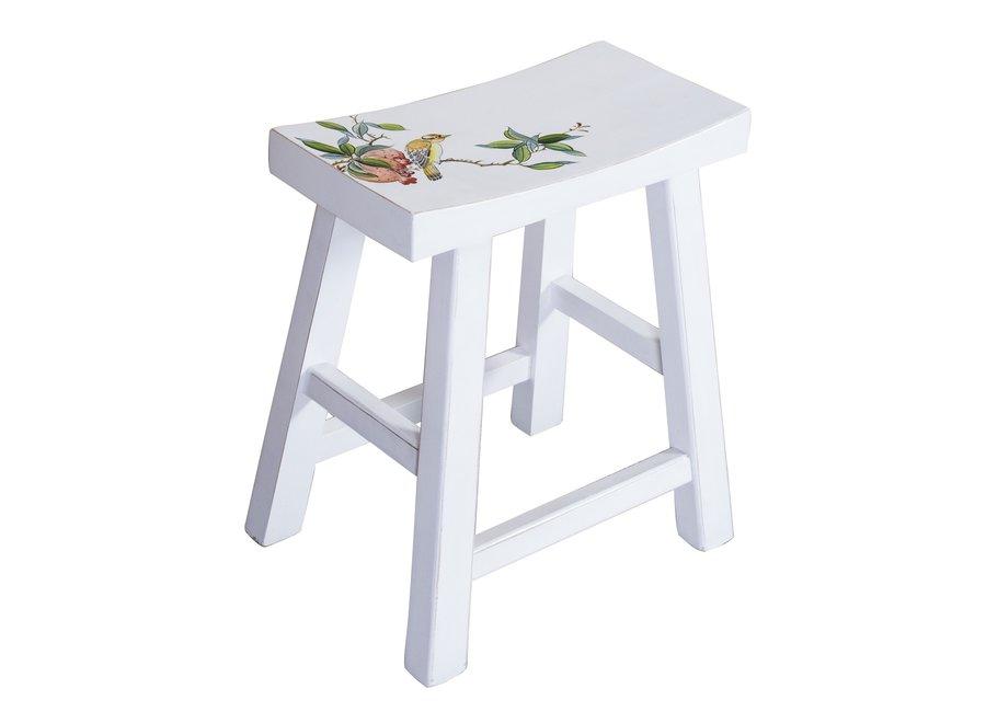 Chinesischer Hocker Handbemalte Blüten Weiß