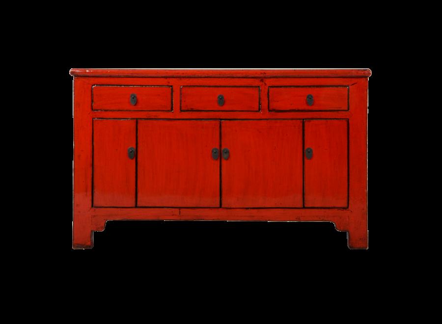 Antikes Chinesisches Sideboard Kommode Rot Glänzend B137xT36xH84cm