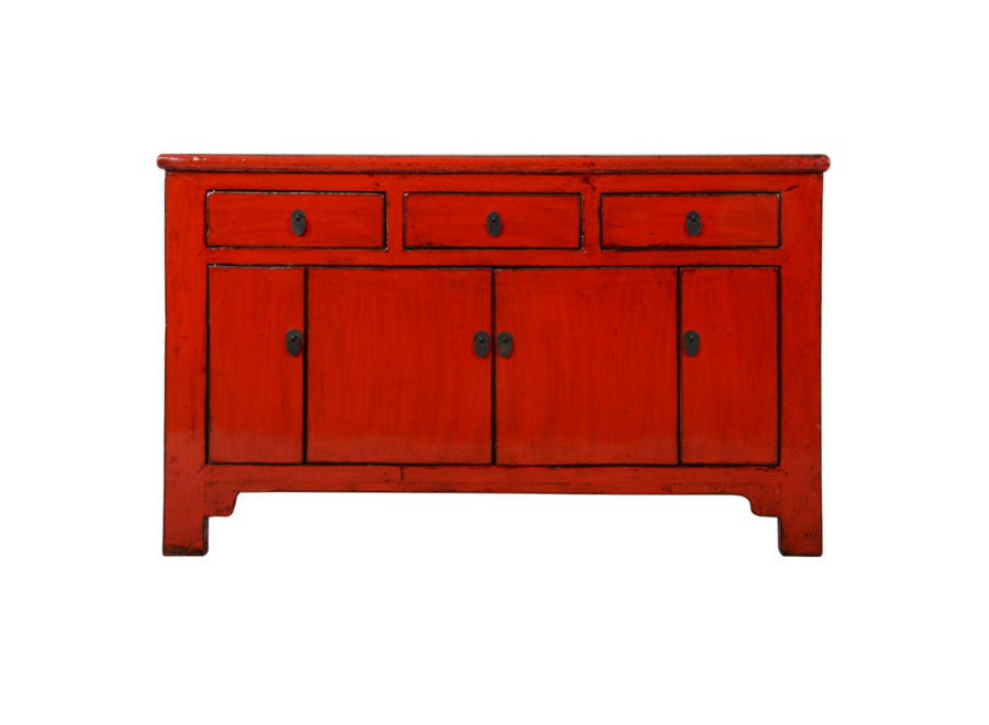 Fine Asianliving Antique Chinese Sideboard Red Glossy W137xD36xH84cm