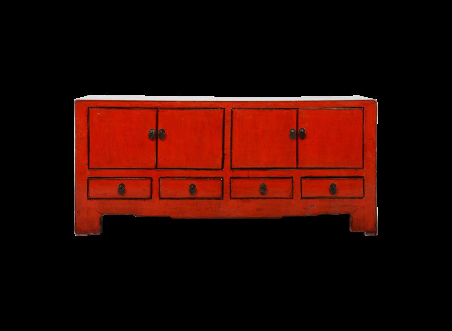 Antike Chinesisches TV Lowboard Schrank Rot Glänzend B130xT37xH56cm