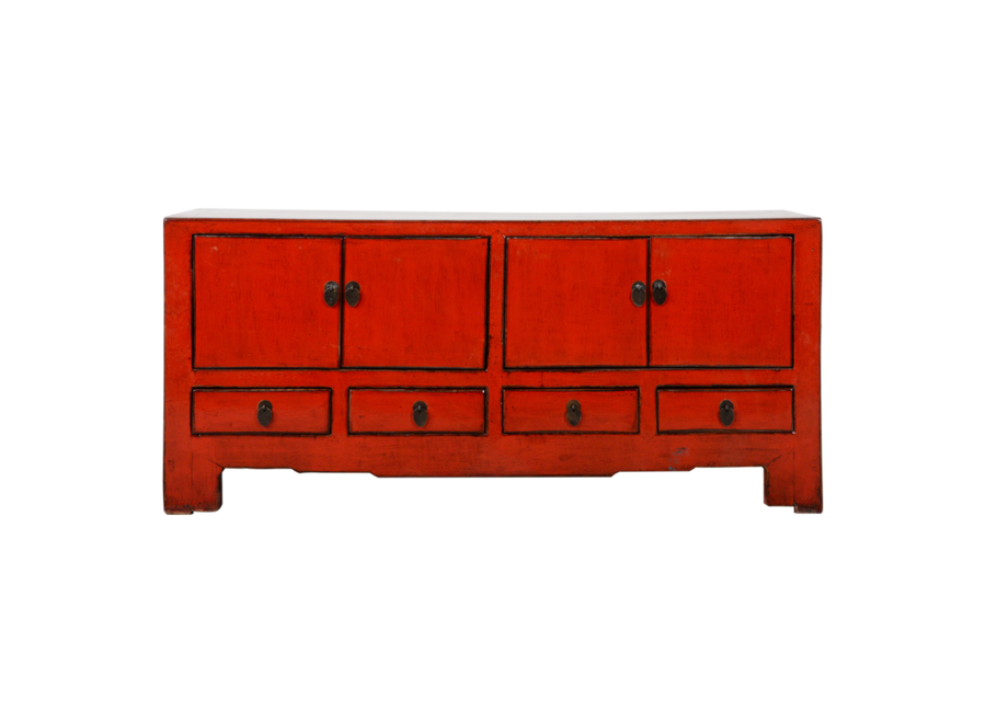 Fine Asianliving Antique Chinese TV Cabinet Red Glossy W130xD37xH56cm