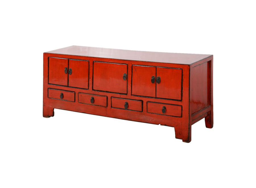 Antike Chinesisches TV Lowboard Schrank Rot Glänzend B134xT41xH62cm