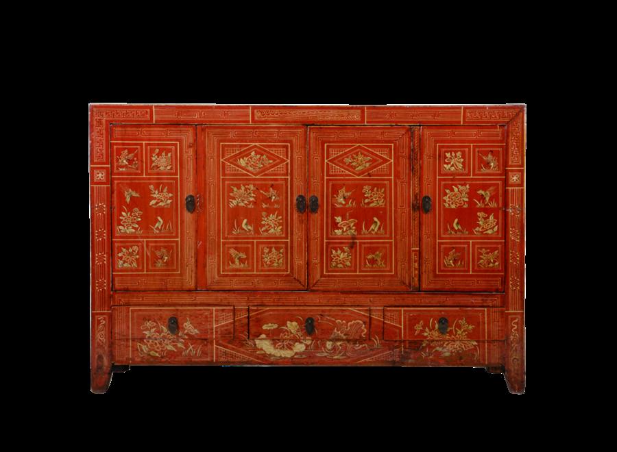 Antikes Chinesisches Sideboard Kommode Rot Dongbei Handbemalt B156xT40xH104cm