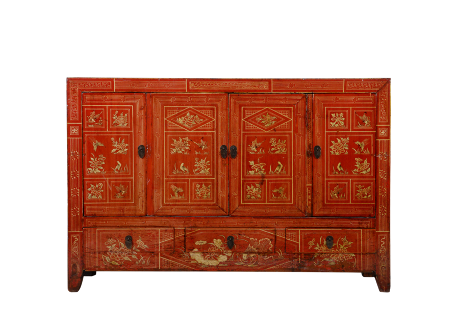Fine Asianliving Antique Chinese Sideboard Red Dongbei Handpainted W156xD40xH104cm