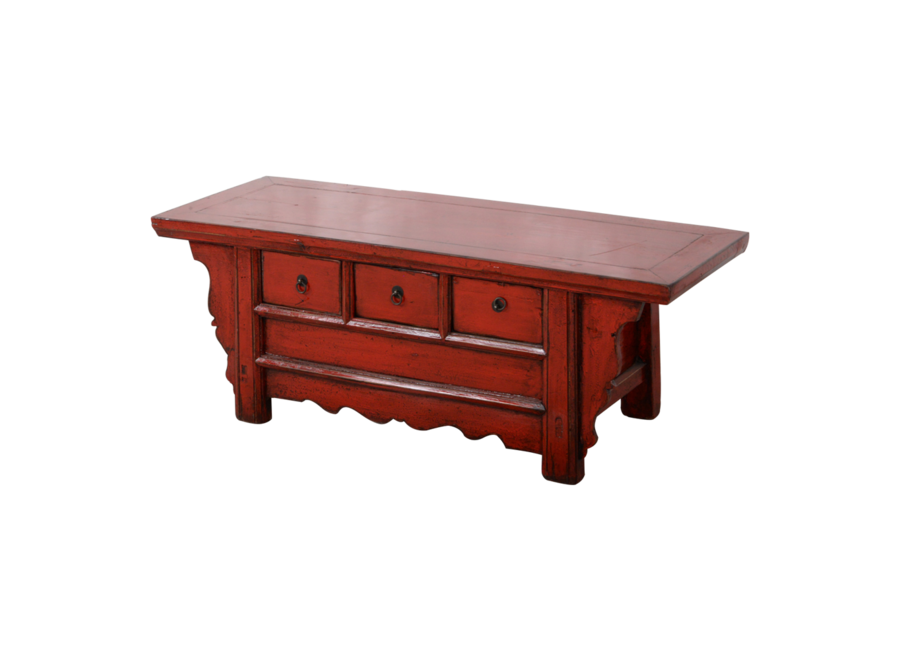Fine Asianliving Antique Chinese TV Cabinet Red Glossy W110xD39xH40cm