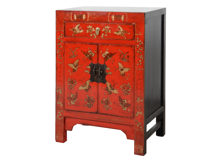 Fine Asianliving Chinese Cabinet Red Handpainted Butterflies W58xD37xH85cm