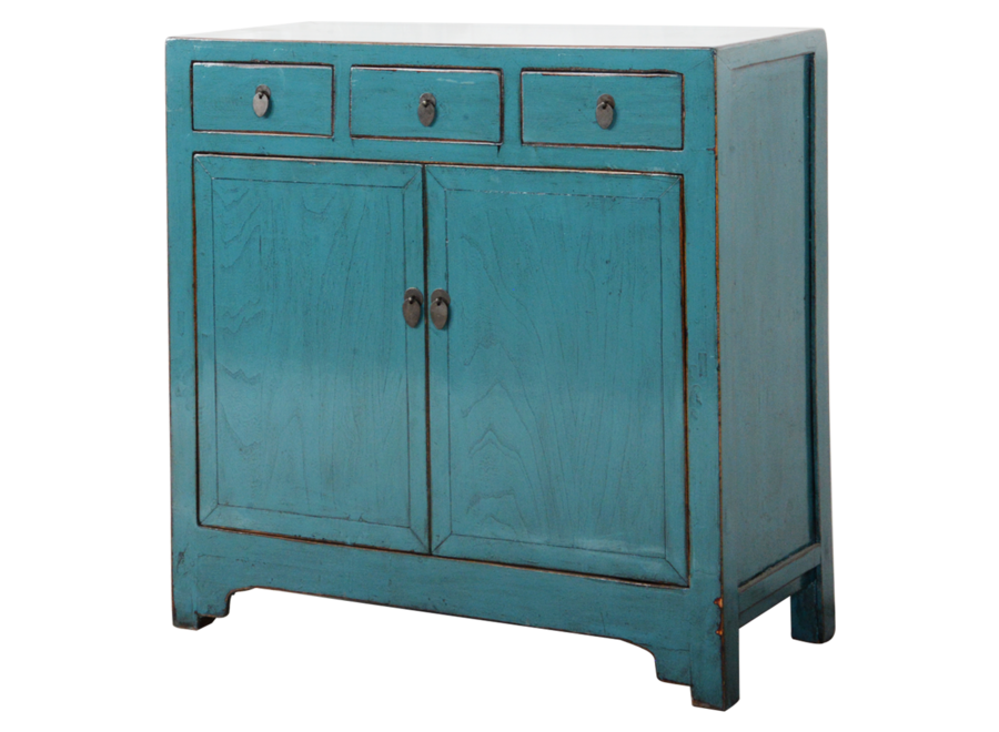 Antikes Chinesisches Sideboard Kommode Blau Glänzend B101xT40xH101cm