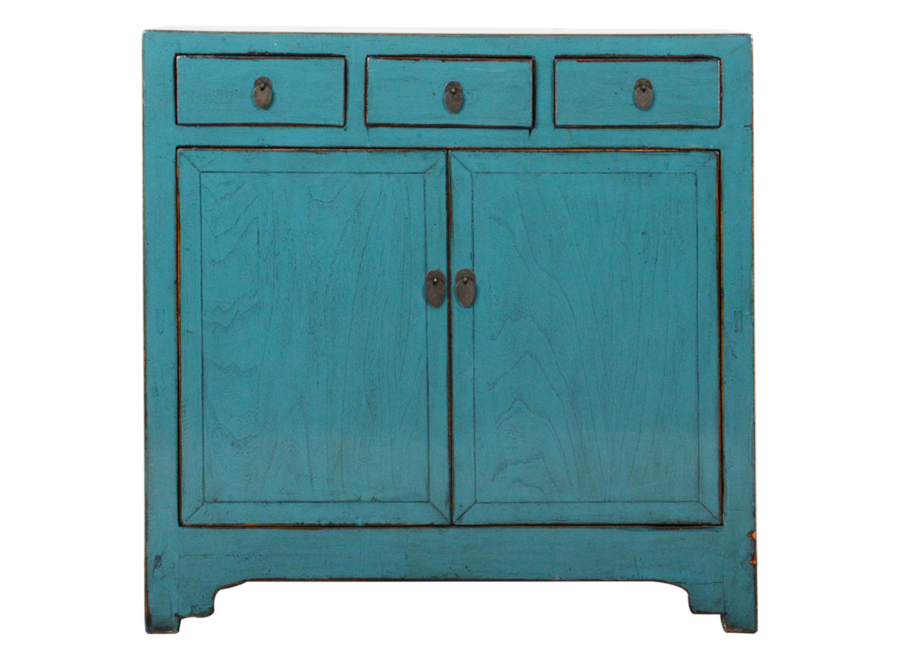 Fine Asianliving Antique Chinese Sideboard Blue Glossy W101xD40xH101cm