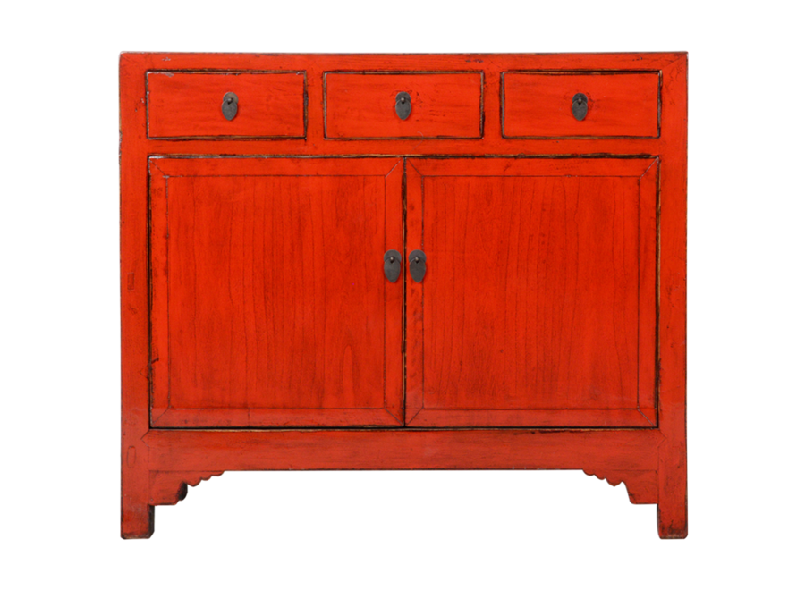 Antikes Chinesisches Sideboard Kommode Rot Glänzend B105xT40xH100cm