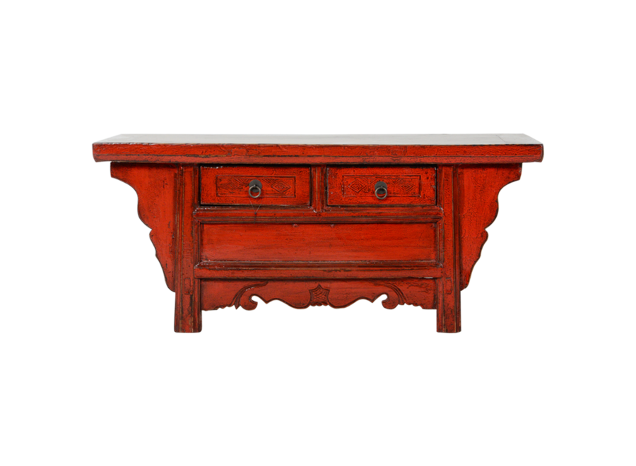 Antique Chinese Cabinet Red Glossy W105xD41xH45cm