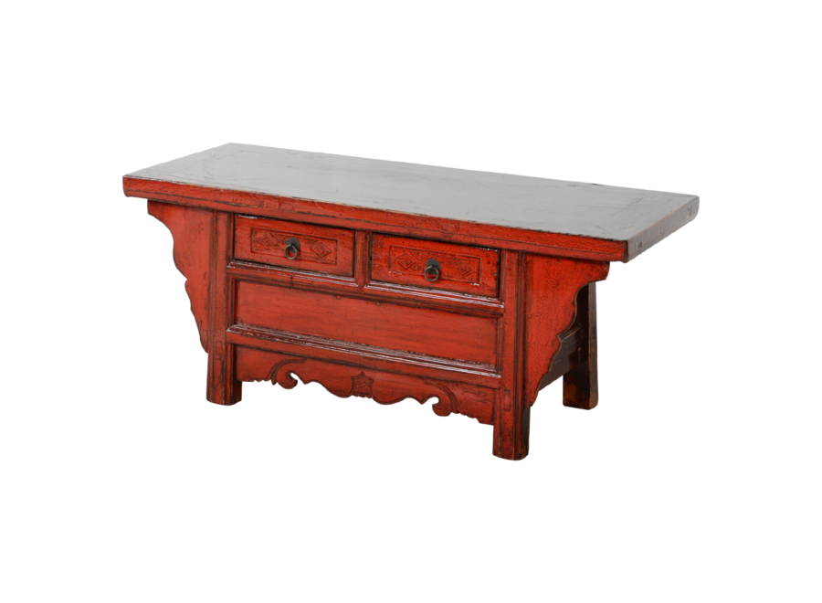 Fine Asianliving Antique Chinese Cabinet Red Glossy W105xD41xH45cm