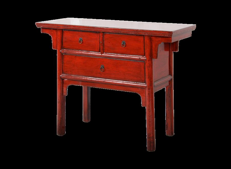 Antiker Chinesischer Konsolentisch Rot Glänzend B101xT45xH86cm