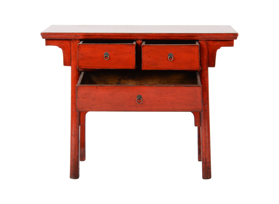 Fine Asianliving Antique Chinese Console Table Red Glossy W101xD45xH86cm