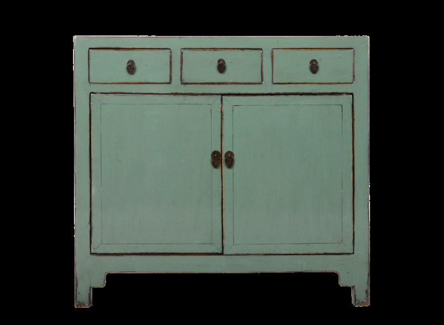 Antikes Chinesisches Sideboard Kommode Mint Grau Glänzend B110xT40xH94cm