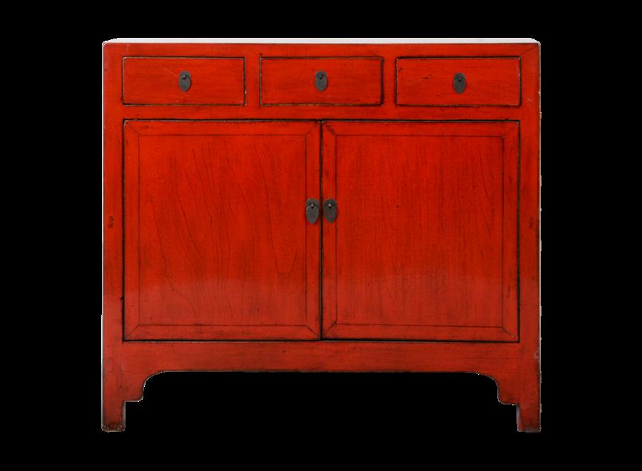 Antikes Chinesisches Sideboard Kommode Rot Glänzend B109xT40xH100cm