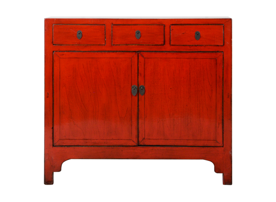 Fine Asianliving Antique Chinese Sideboard Red Glossy W109xD40xH100cm