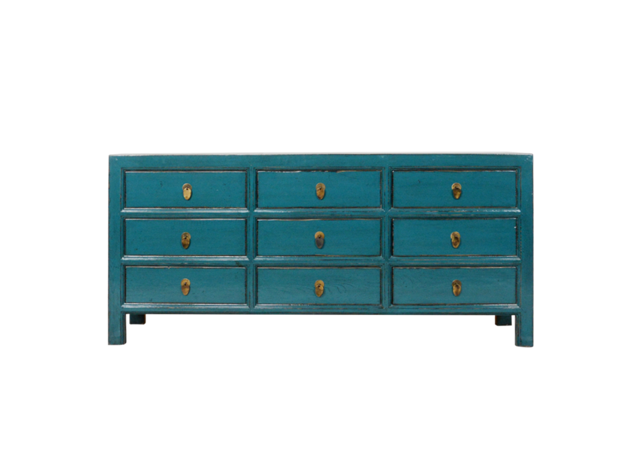 Chinese Chest of Drawers Blue Glossy W180xD41xH82cm