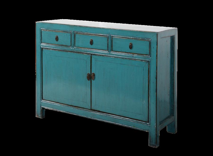 Antikes Chinesisches Sideboard Kommode Blau Glänzend B130xT39xH91cm