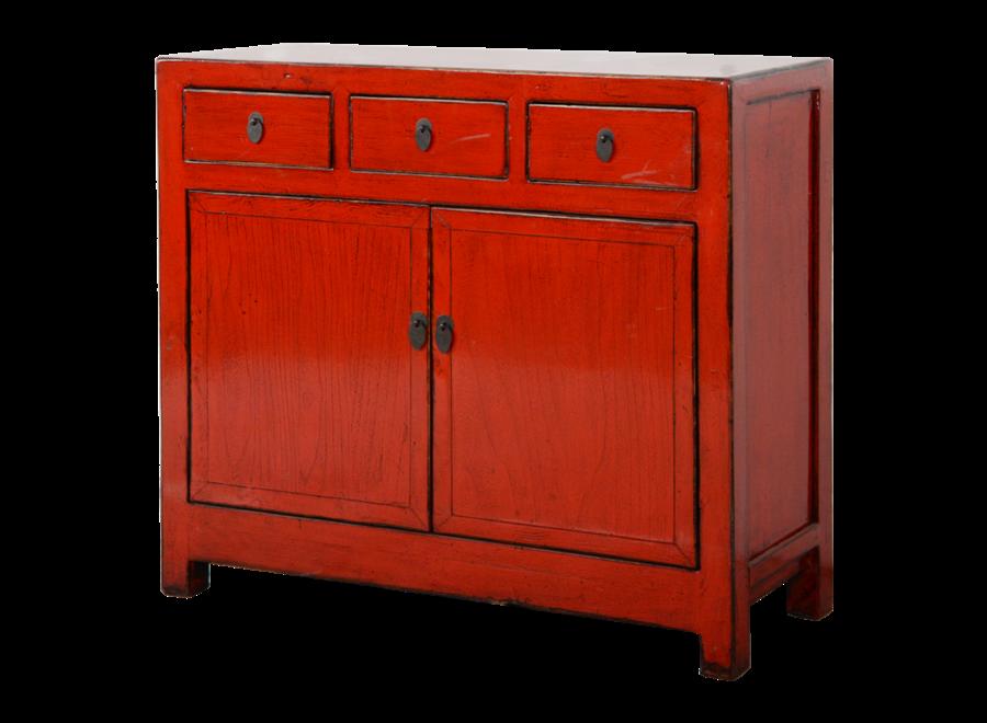 Antikes Chinesisches Sideboard Kommode Rot Glänzend B108xT40xH96cm