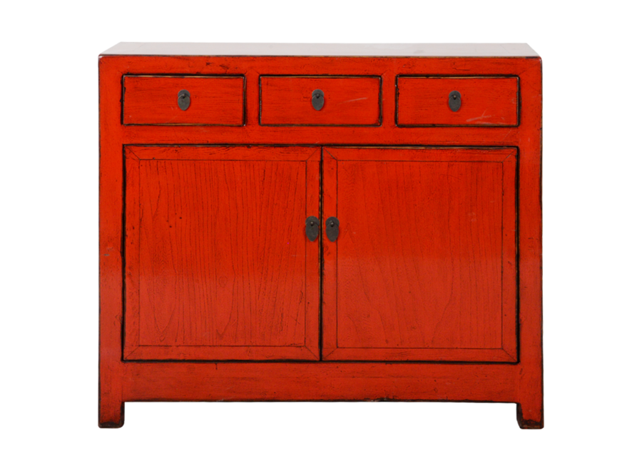 Fine Asianliving Antique Chinese Sideboard Red Glossy W108xD40xH96cm