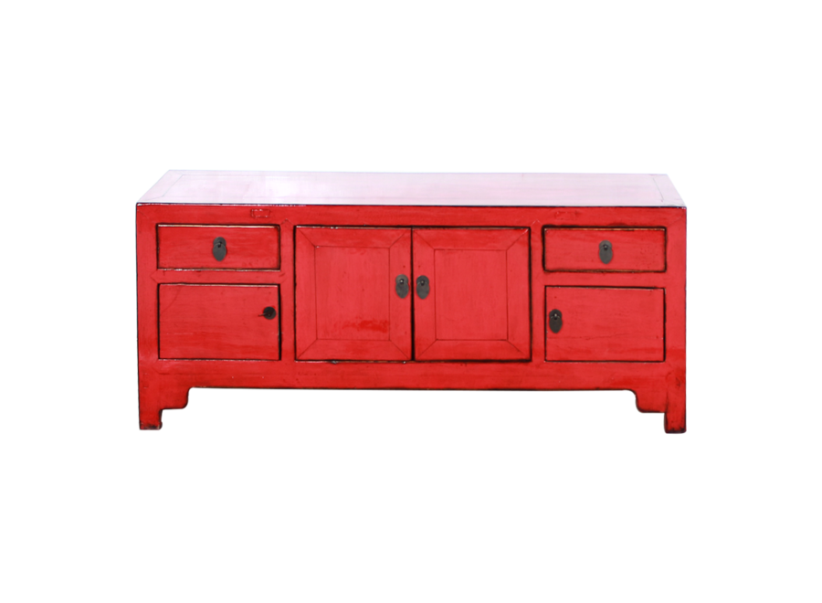Fine Asianliving Antique Chinese TV Cabinet Red Glossy W122xD39xH63cm