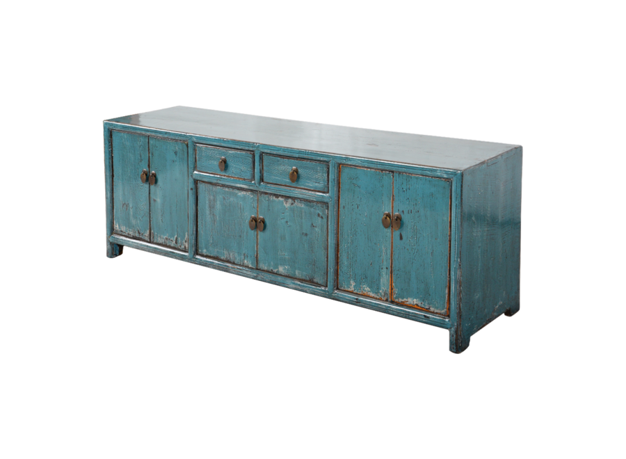 Fine Asianliving Chinese TV Cabinet Blue Glossy W149xD39xH55cm
