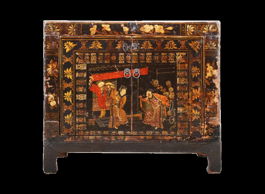 Antiker Chinesischer Schrank Handgemalt B86xT40xH75cm