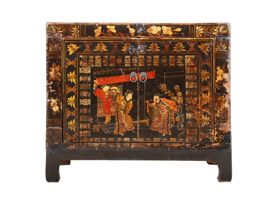 Fine Asianliving Antique Chinese Cabinet Handpainted W86xD40xH75cm