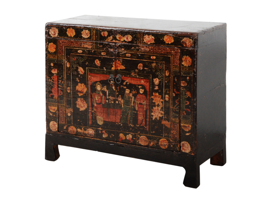 Fine Asianliving Antique Chinese Cabinet Handpainted W88xD38xH77cm