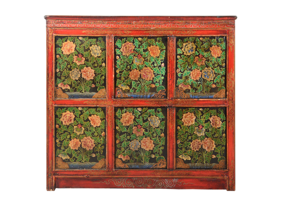 Antique Tibetan Chinese Cabinet Handpainted W102xD38xH94cm