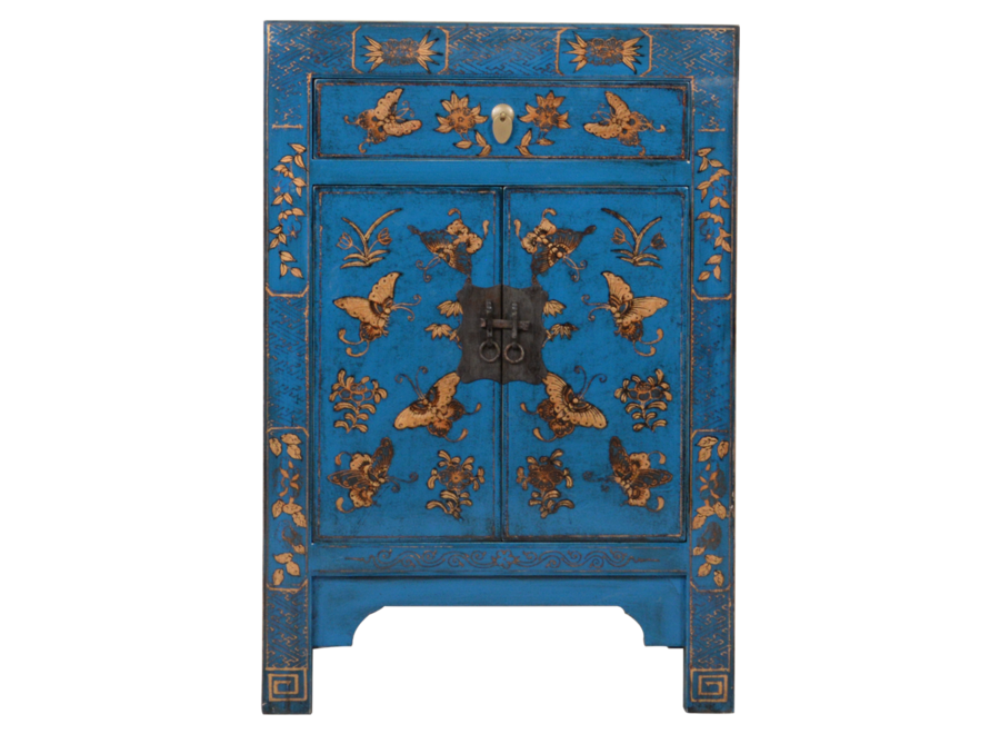 Fine Asianliving Chinese Bedside Table Blue Handpainted Butterflies W40xD32xH60cm