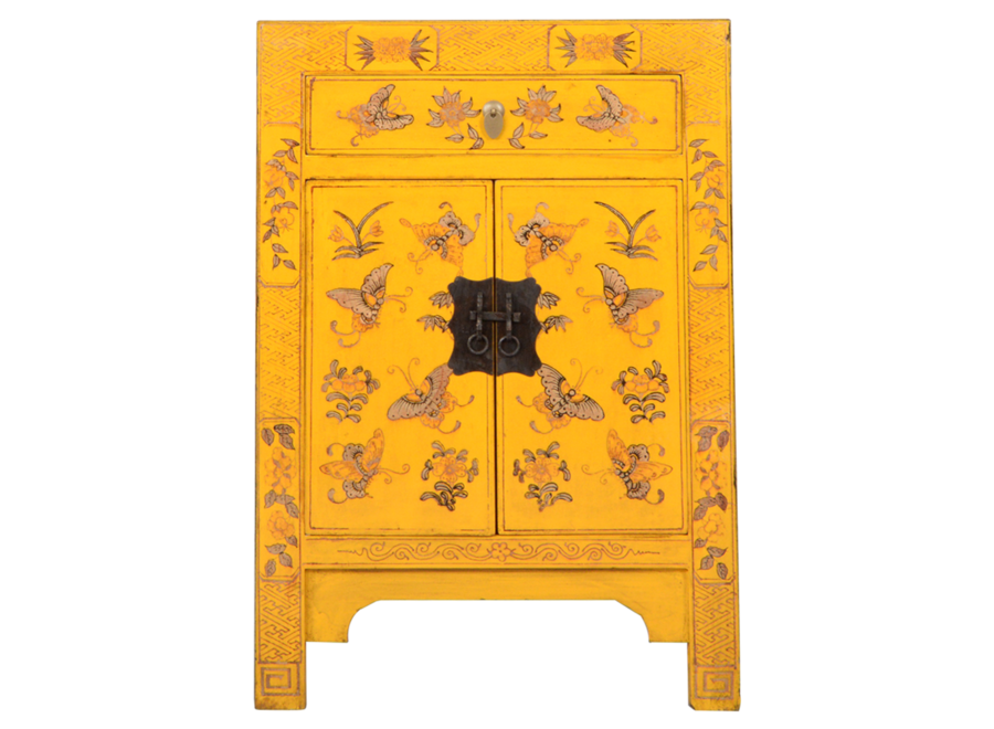 Chinese Bedside Table Yellow Handpainted Butterflies W40xD32xH60cm