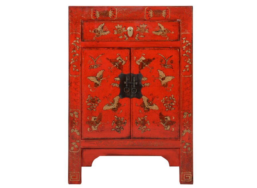 Chinese Bedside Table Red Handpainted Butterflies W40xD32xH60cm